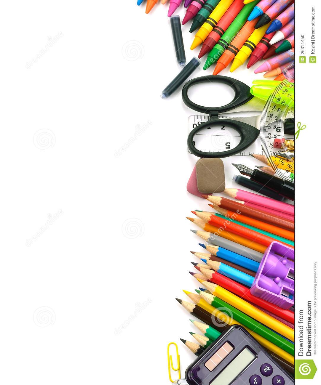 School and office supplies frame, on white background, back to school.