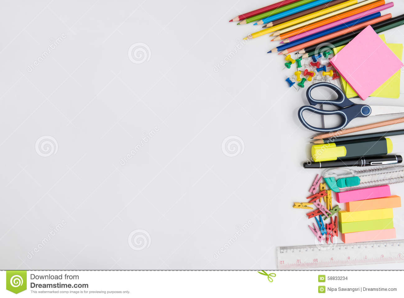 School Office Supplies Frame White Background Back To Math Design