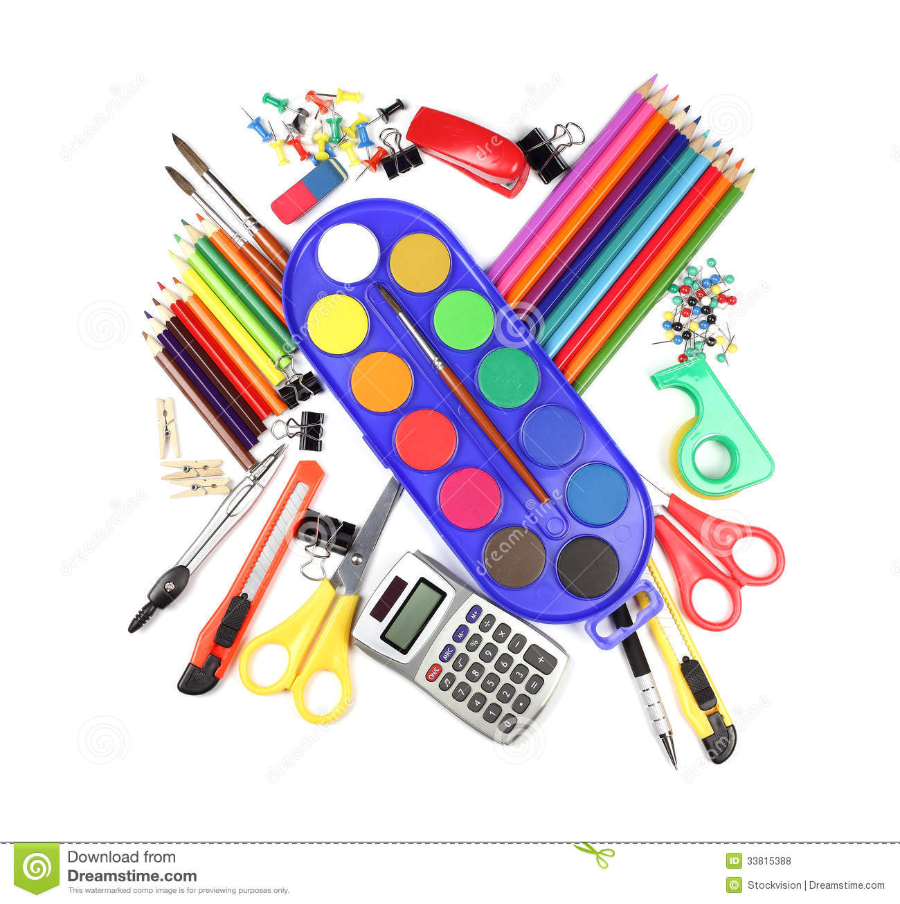 School And Office Supplies Isolated On White Background ...
