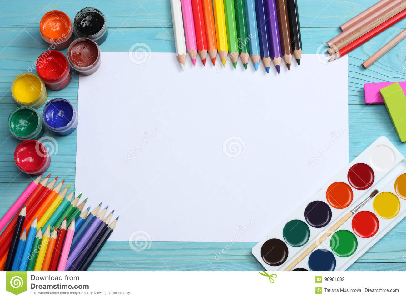 School and office supplies. school background. colored pencils, pen, pains, paper for school and student education