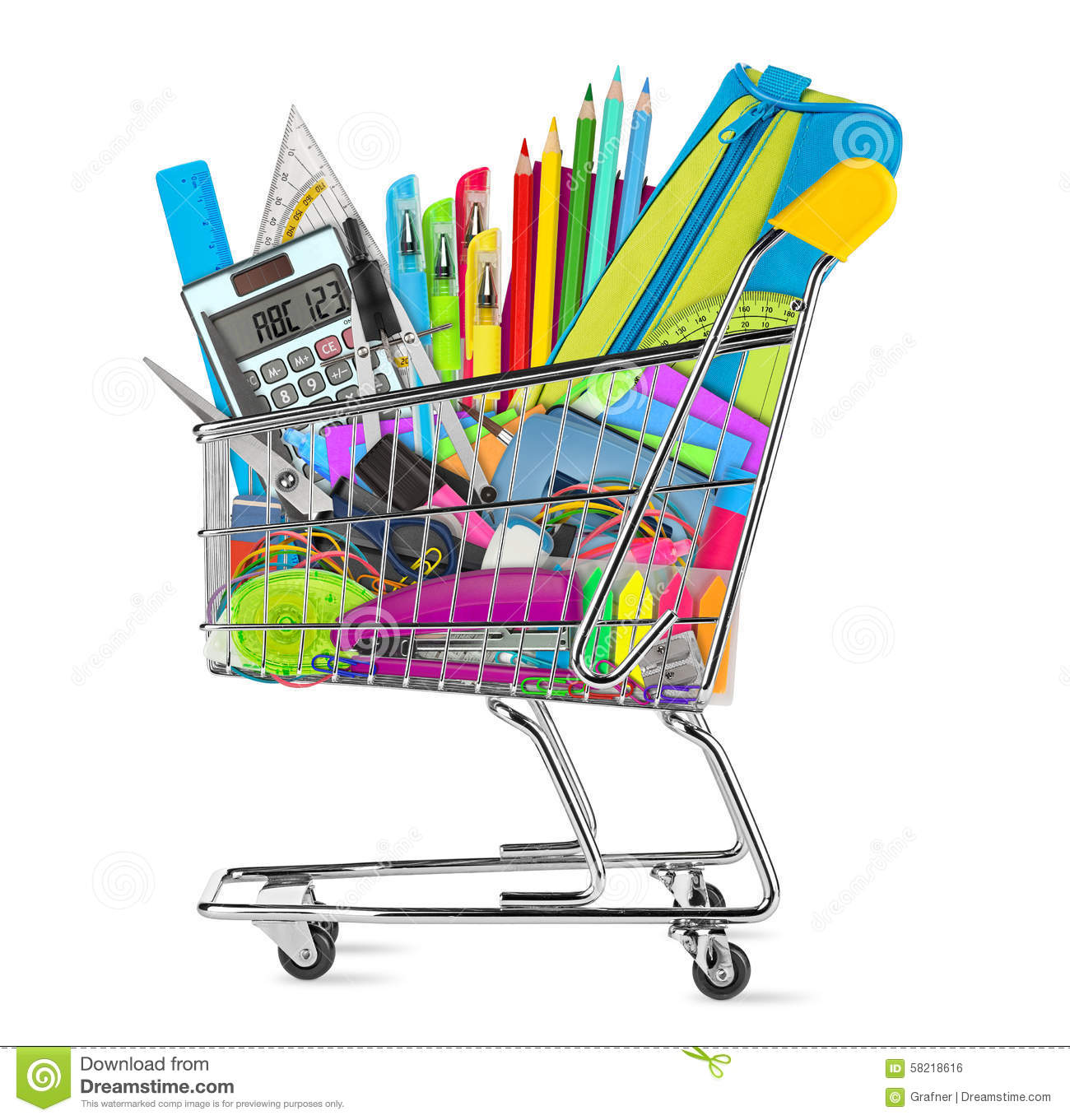 Ihram Kids For Sale Dubai: School / Office Supplies In Shopping Cart Stock Photo