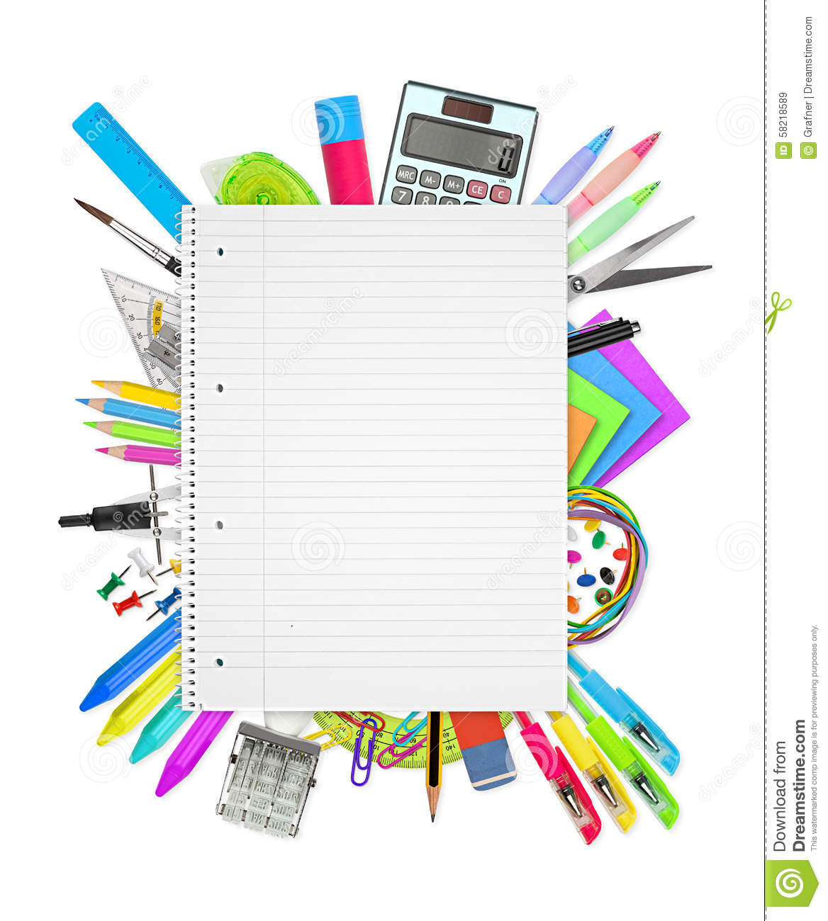 school    office supplies on white background stock image
