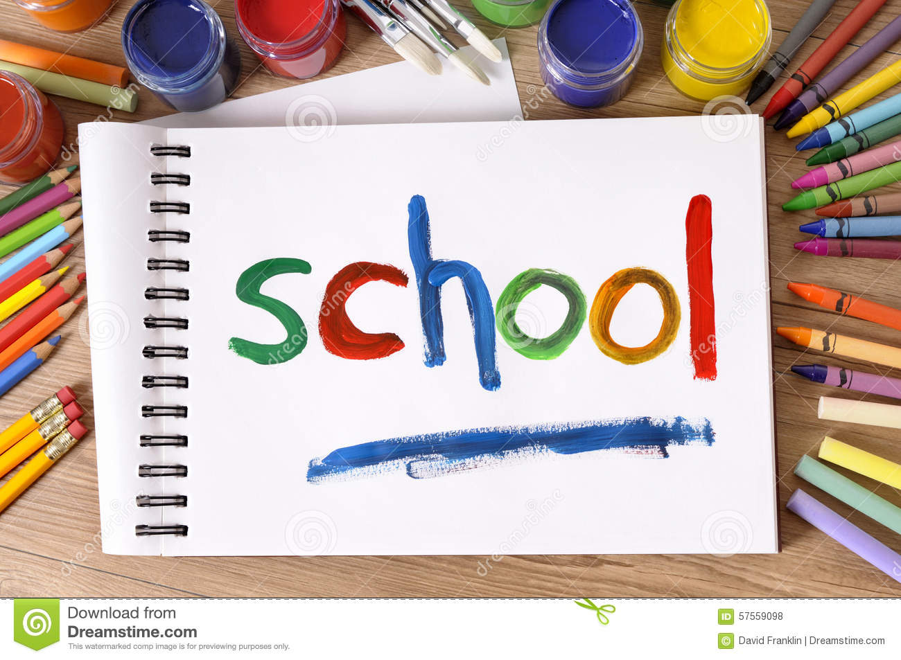 School Painted On Sketch Pad Art And Craft Equipment Back To