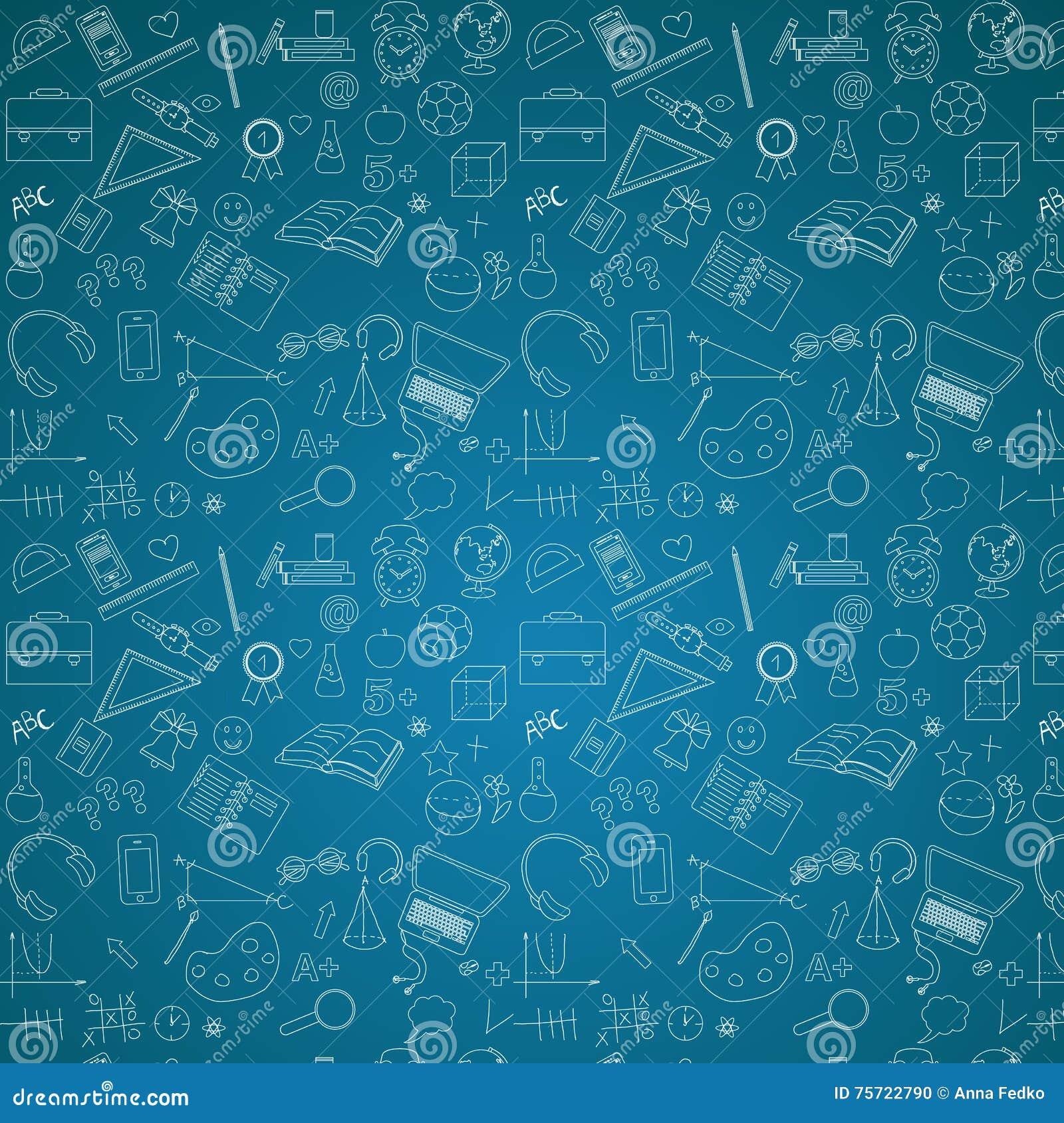 school pattern on blue chalkboard background illustration 75722790