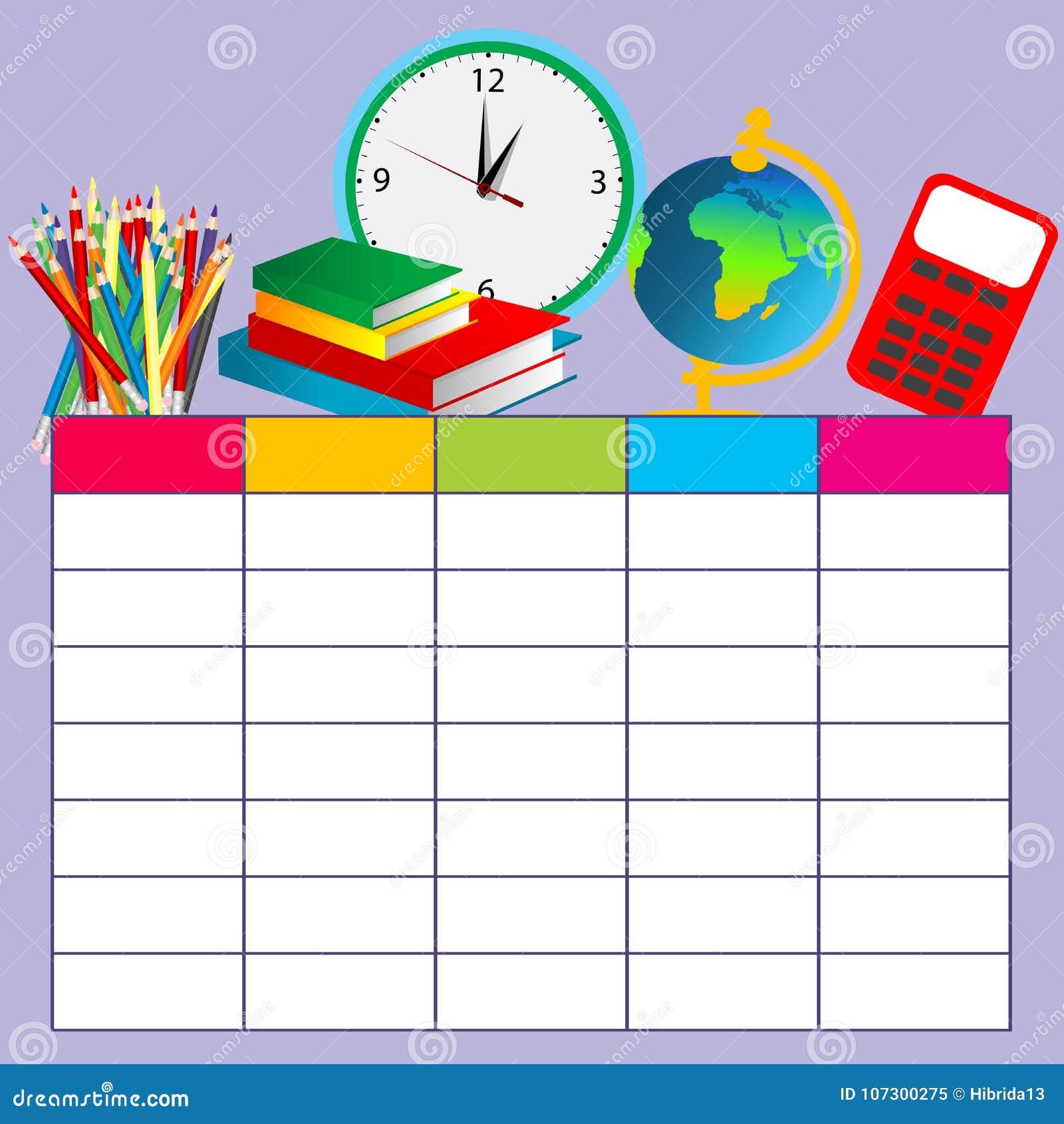 School Plan Schedule Template Stock Vector - Illustration of book ...