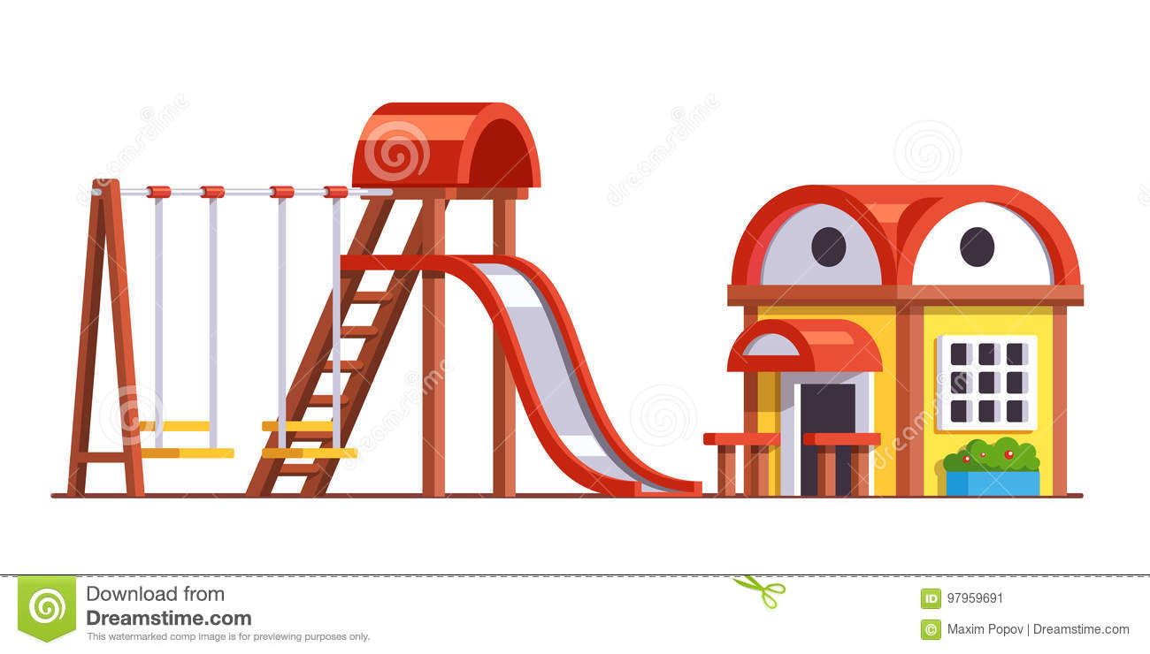 School Playground With Slide And Swings For Kids Stock Vector ...