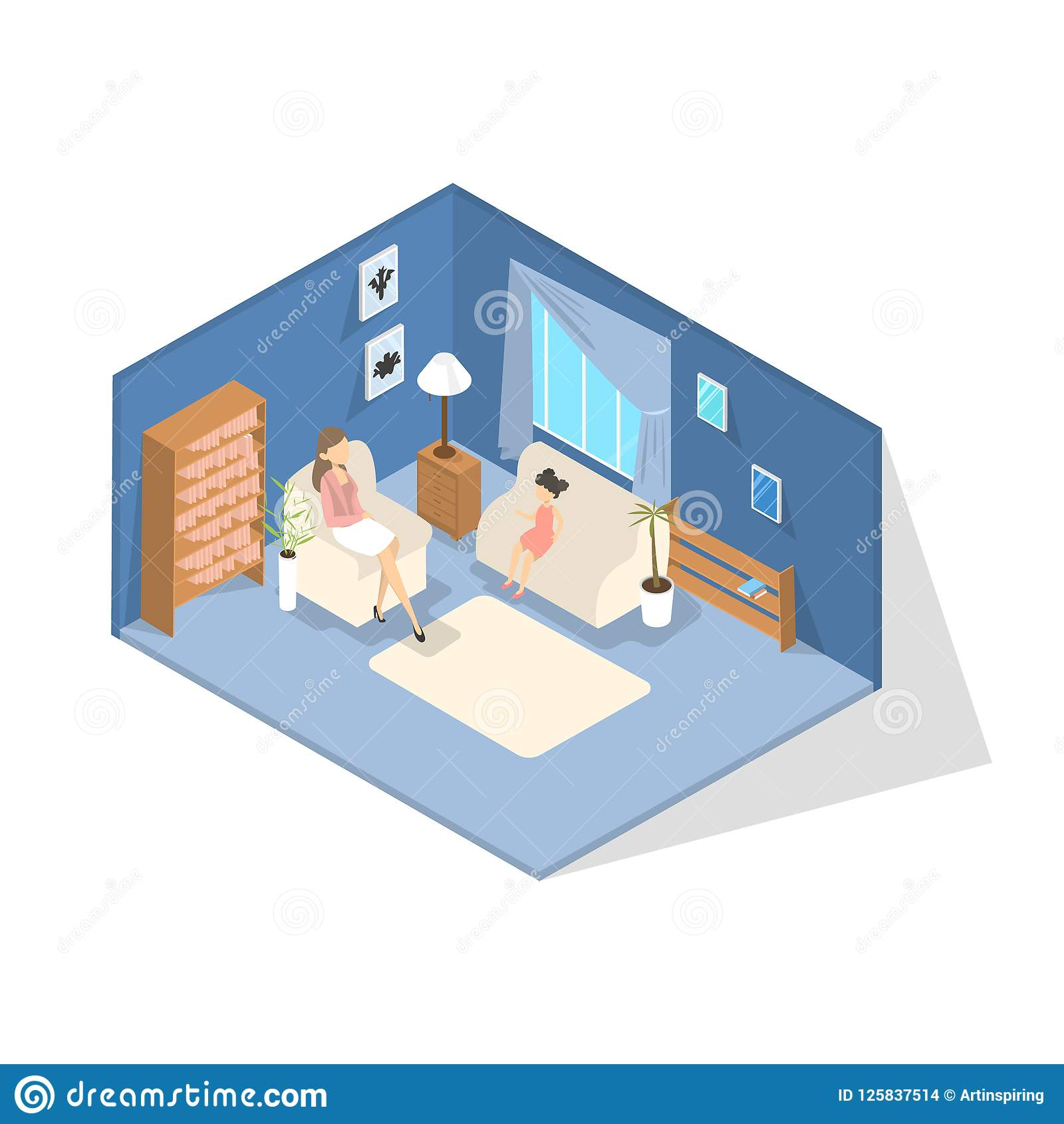School Psychologist Talking With A Kid In Office Stock Vector