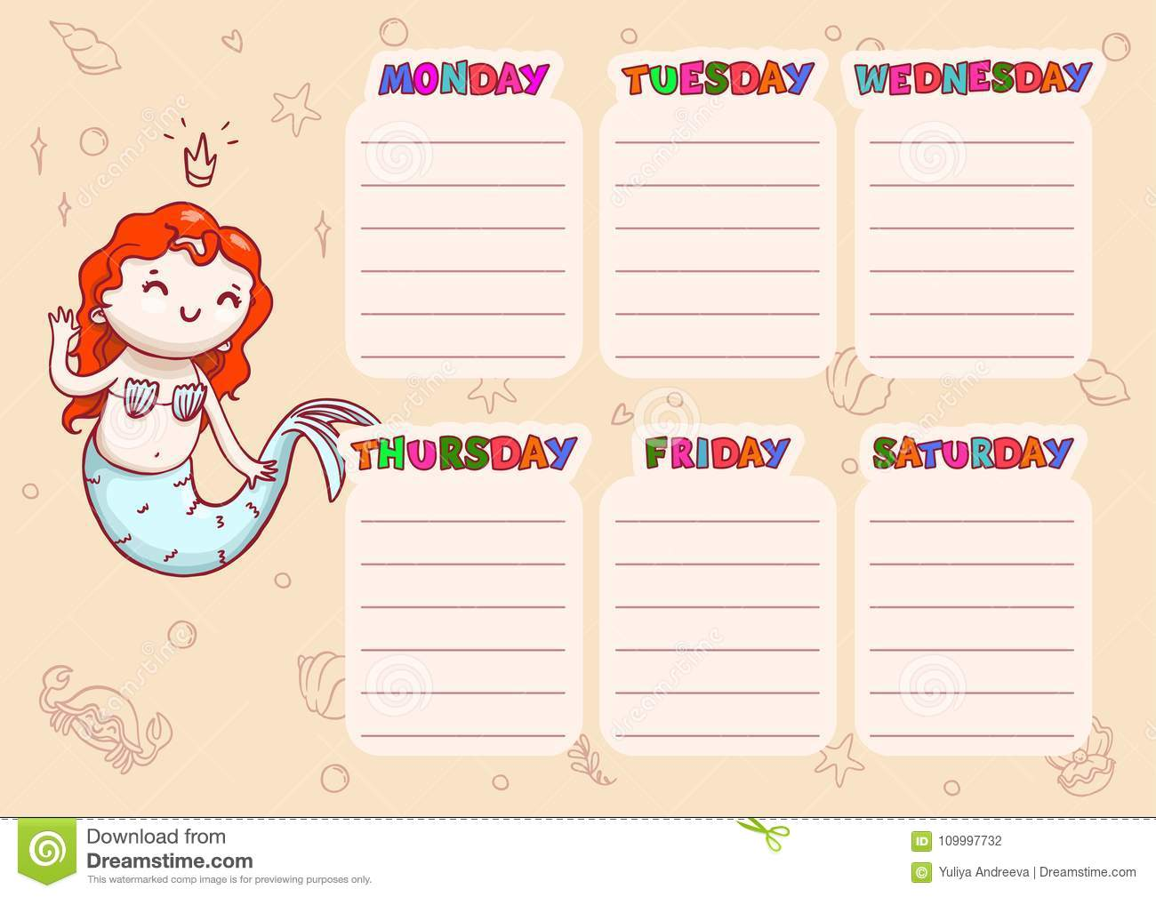 image regarding Printable School Schedule identify Faculty Agenda With Times Of 7 days For Young children. Vector