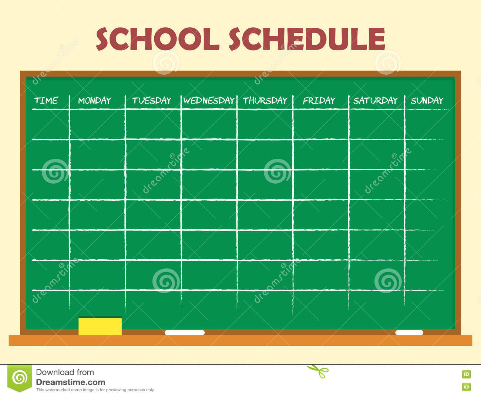 School Schedule Template Vector Image 75794954 – School Schedule Template
