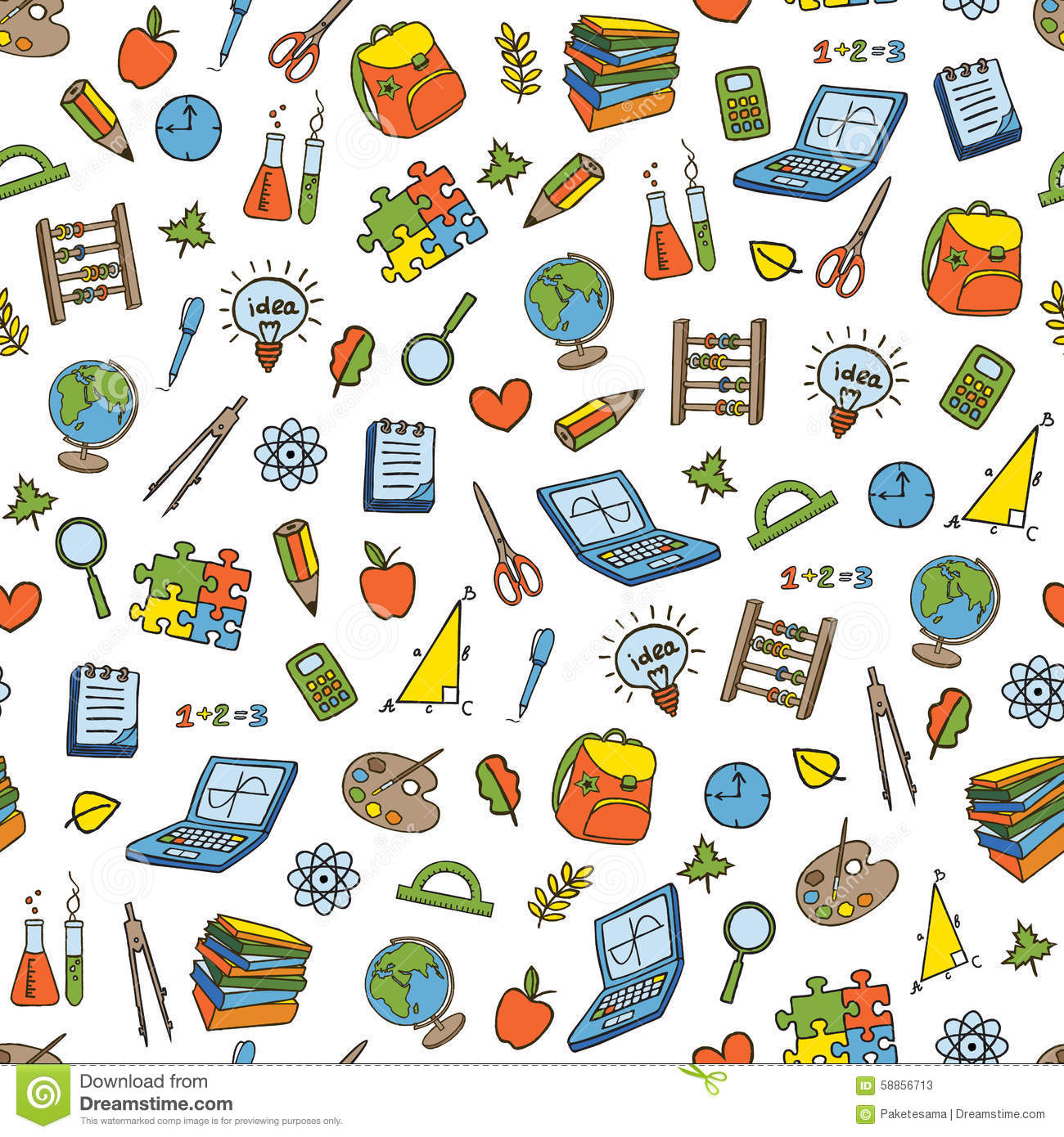 school seamless pattern stock vector image 58856713