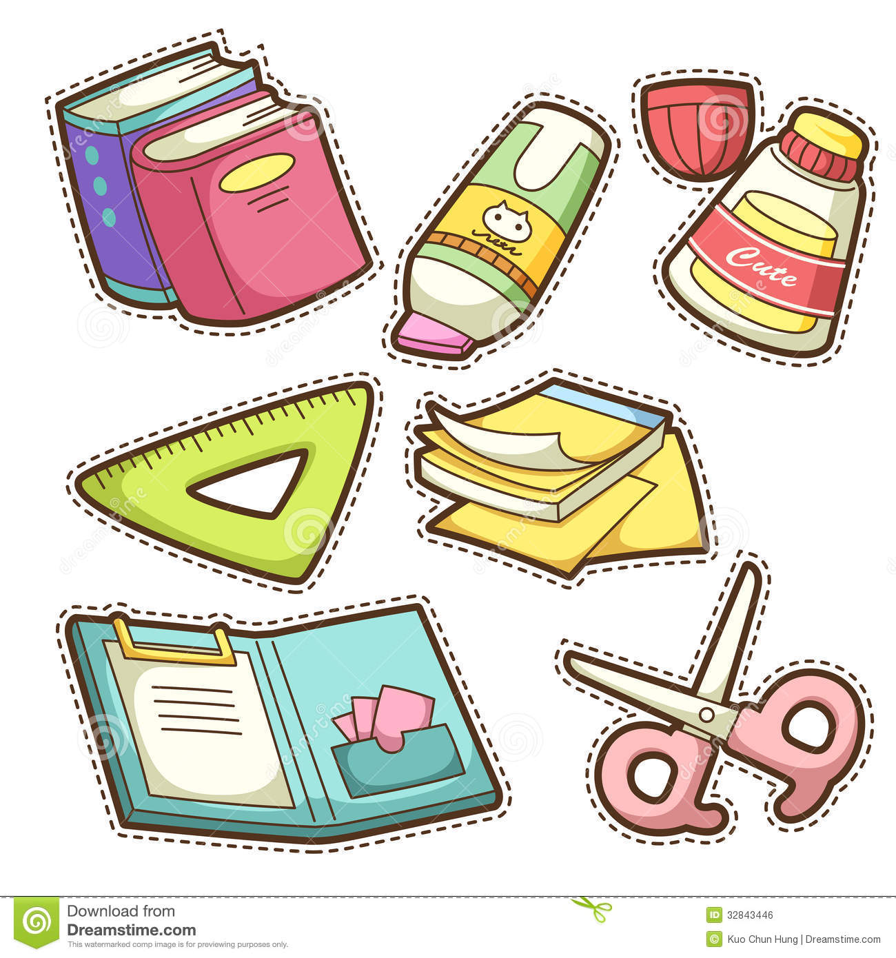 School Set. Set Of Different School Items Royalty Free ...