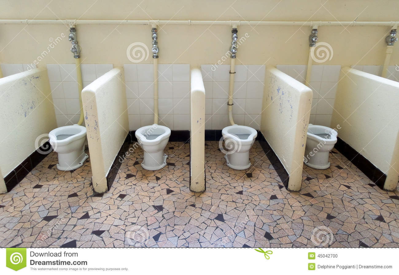 school shared toilets stock photo image of bathroom 45042700. Black Bedroom Furniture Sets. Home Design Ideas