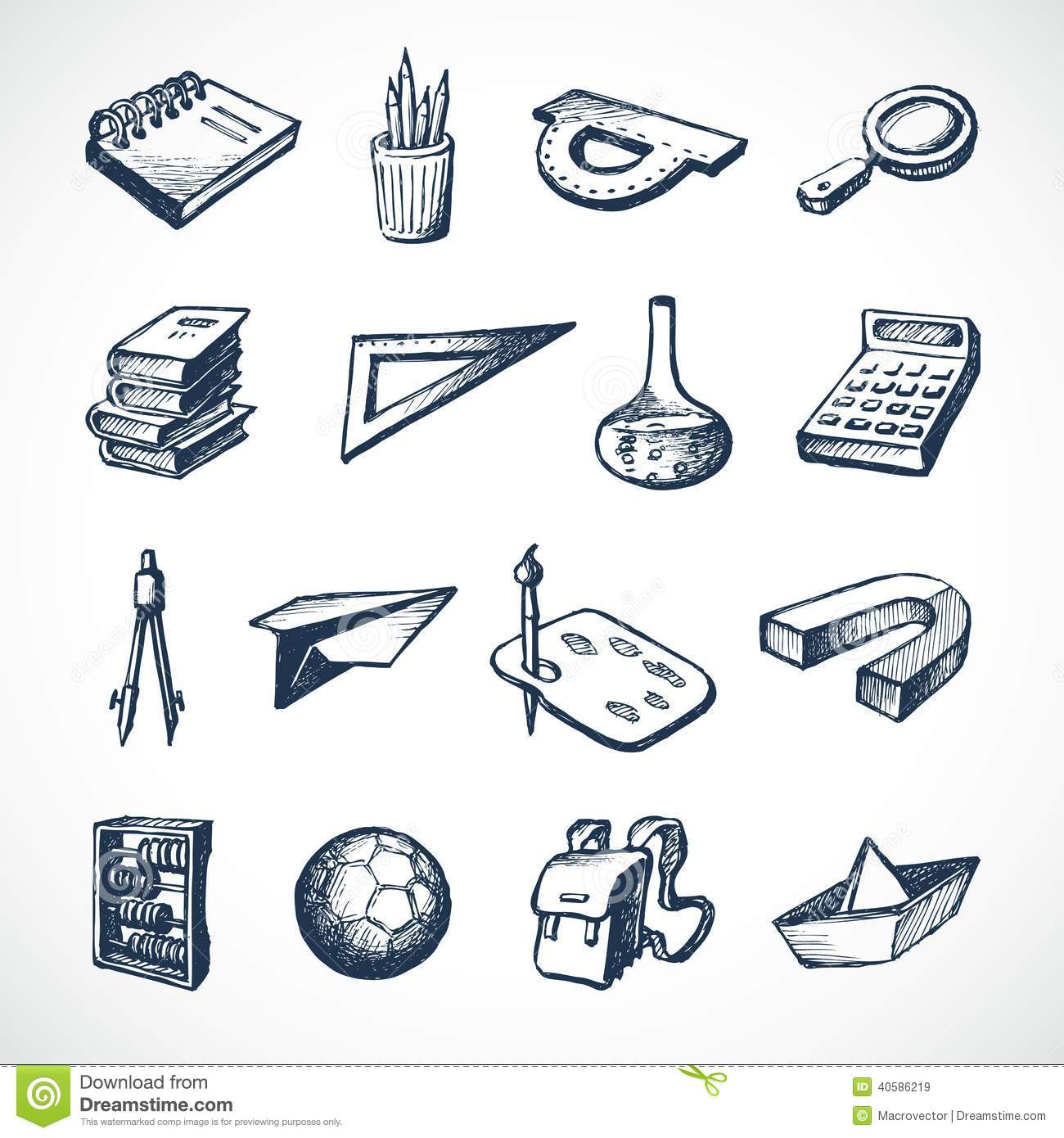 School Sketch Icons Stock Vector - Image: 40586219