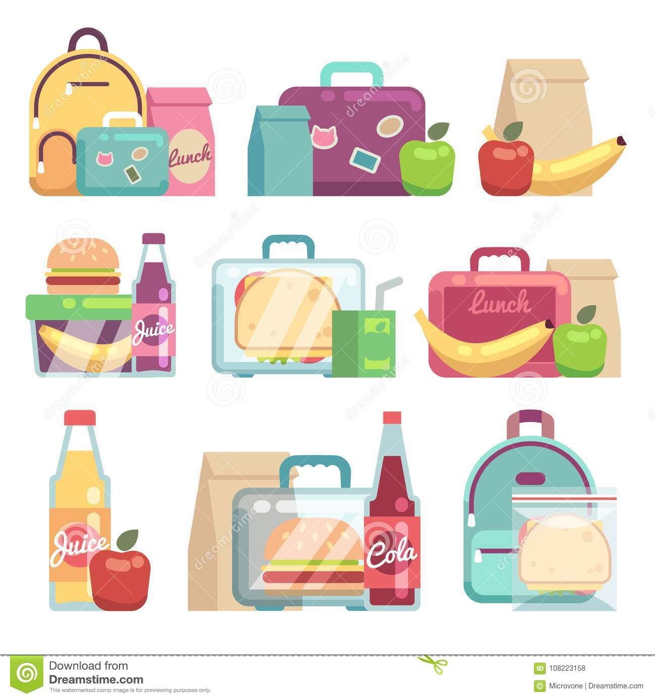 School Snacks Bags Healthy Food In Kids Lunch Boxes Vector Set