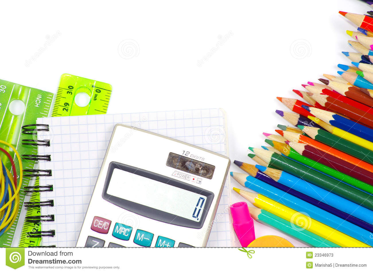 School Stationery Stock Image Image Of Pencil Color