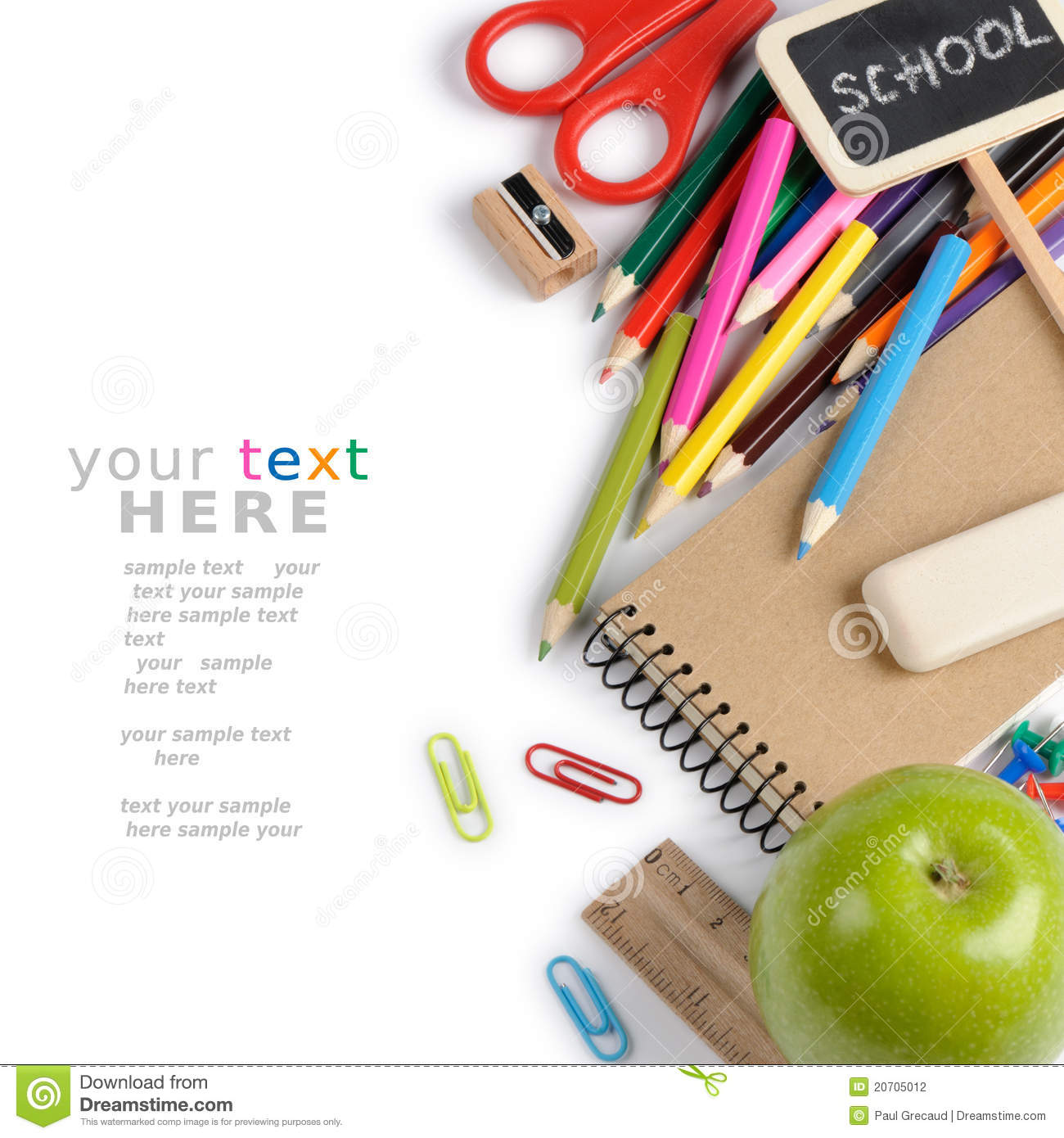Download School Stationery With Copyspace Stock Photo - Image of book, class: 20705012