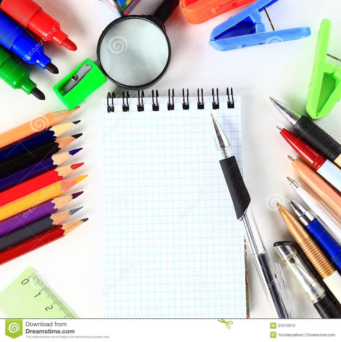 School stationery isolated over white with copyspace.