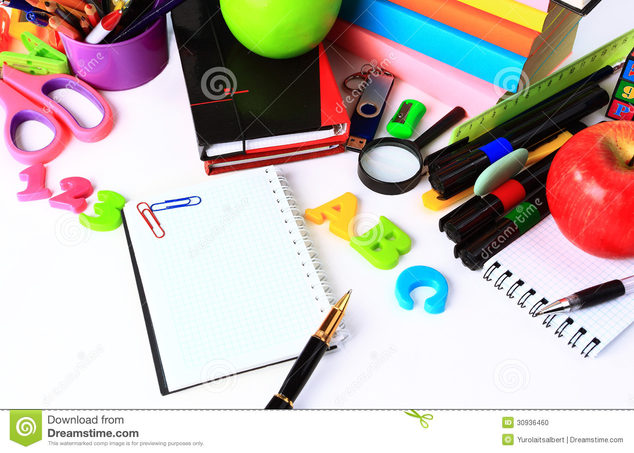 school stationery stock photo  image of book  draw  bulletin