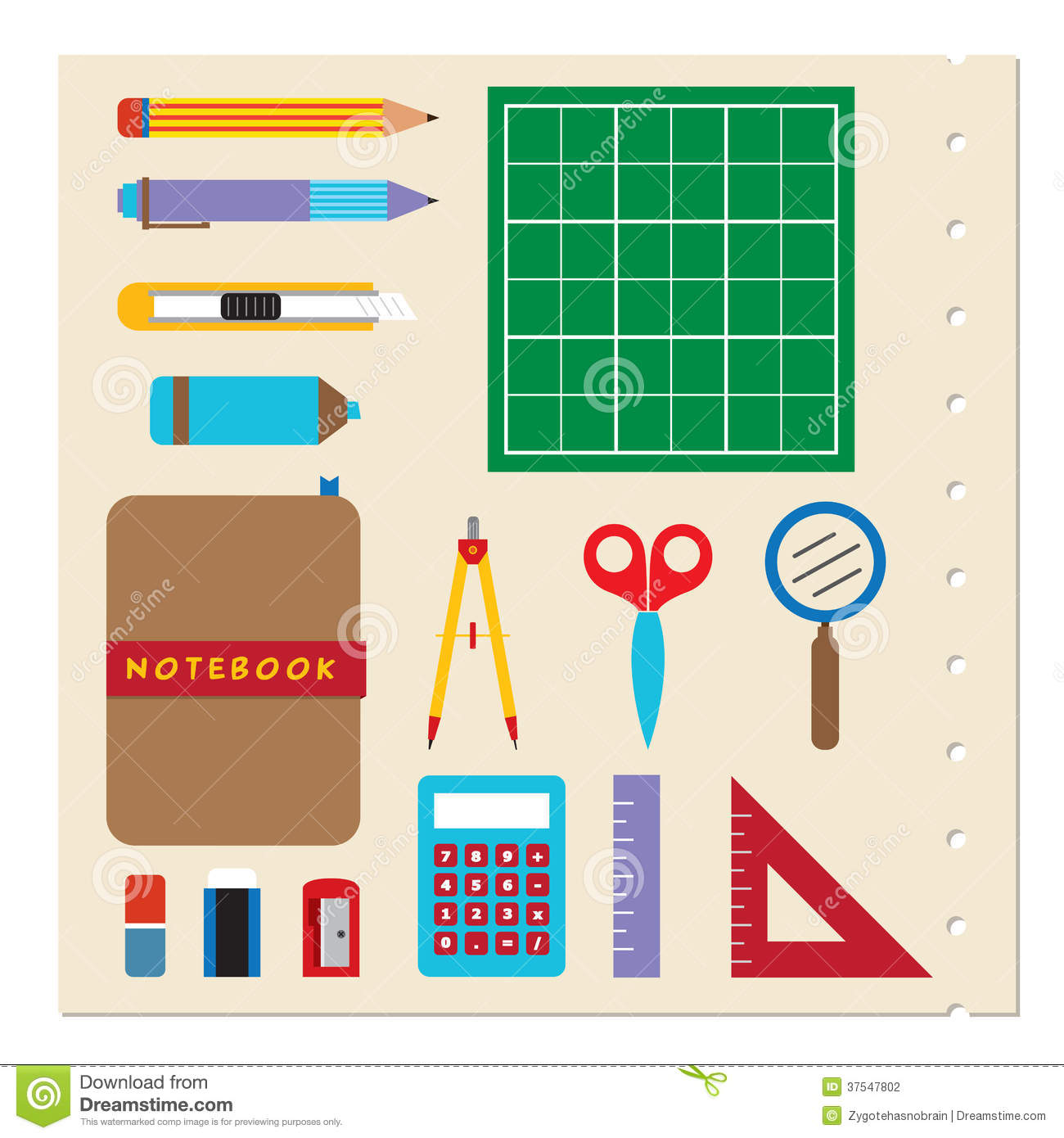 School Stationery Supplies Stock Photography Image