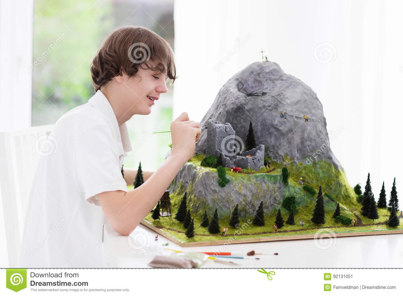 School Student Working On Model Building Project Stock Image