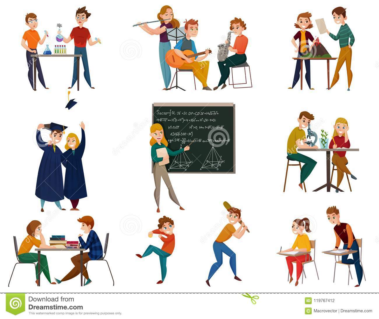 School Students Cartoon Set Stock Vector - Illustration of book