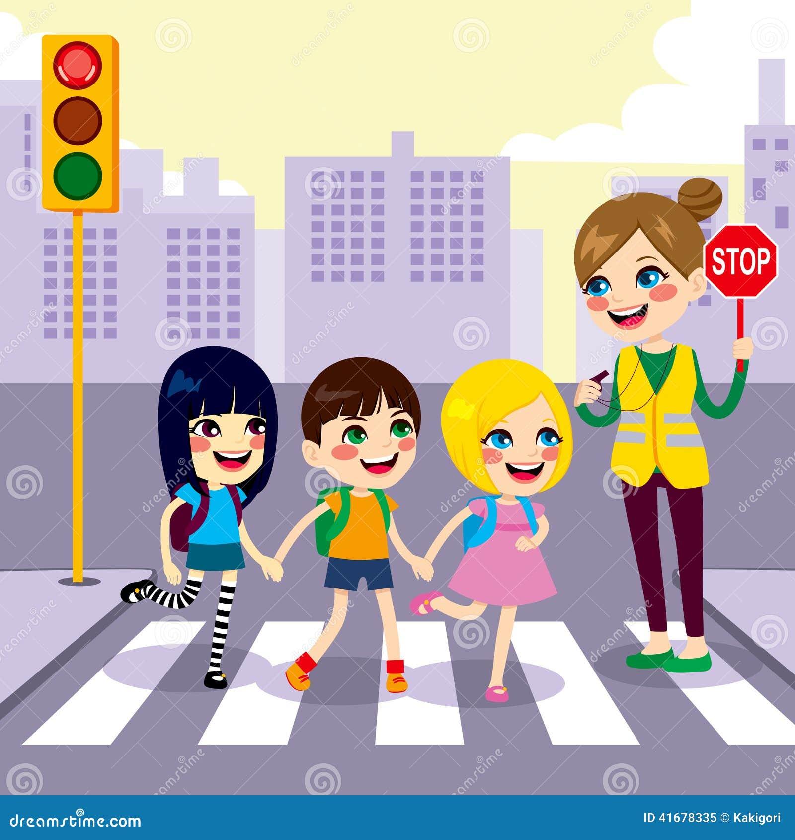 School Students Crossing Street Stock Vector Illustration Of City