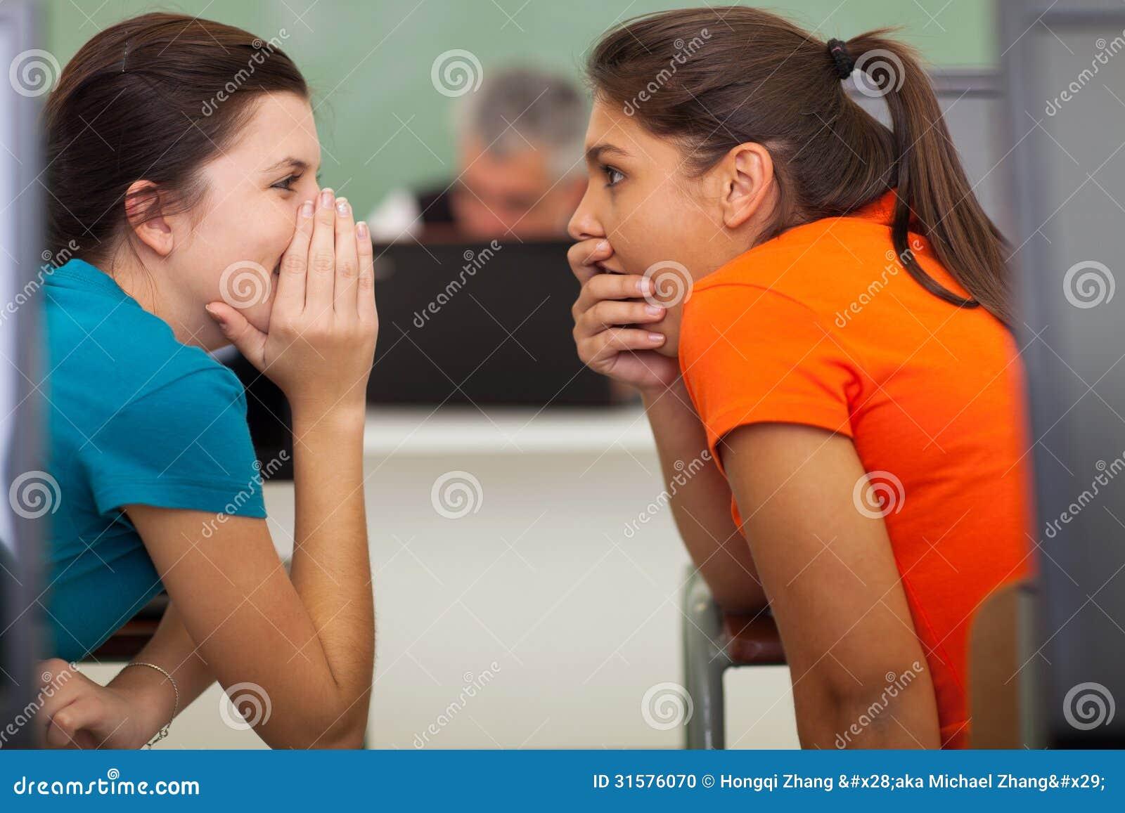 Modern Computer Classroom ~ School students gossiping stock photo image