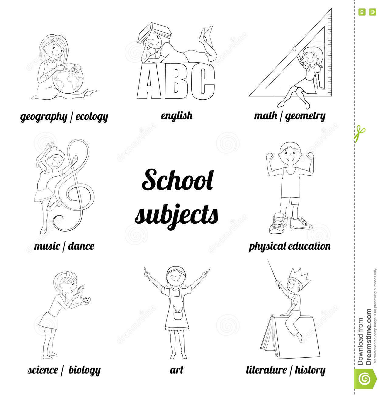 School Subjects Vector Coloring Page Stock Vector - Illustration of ...