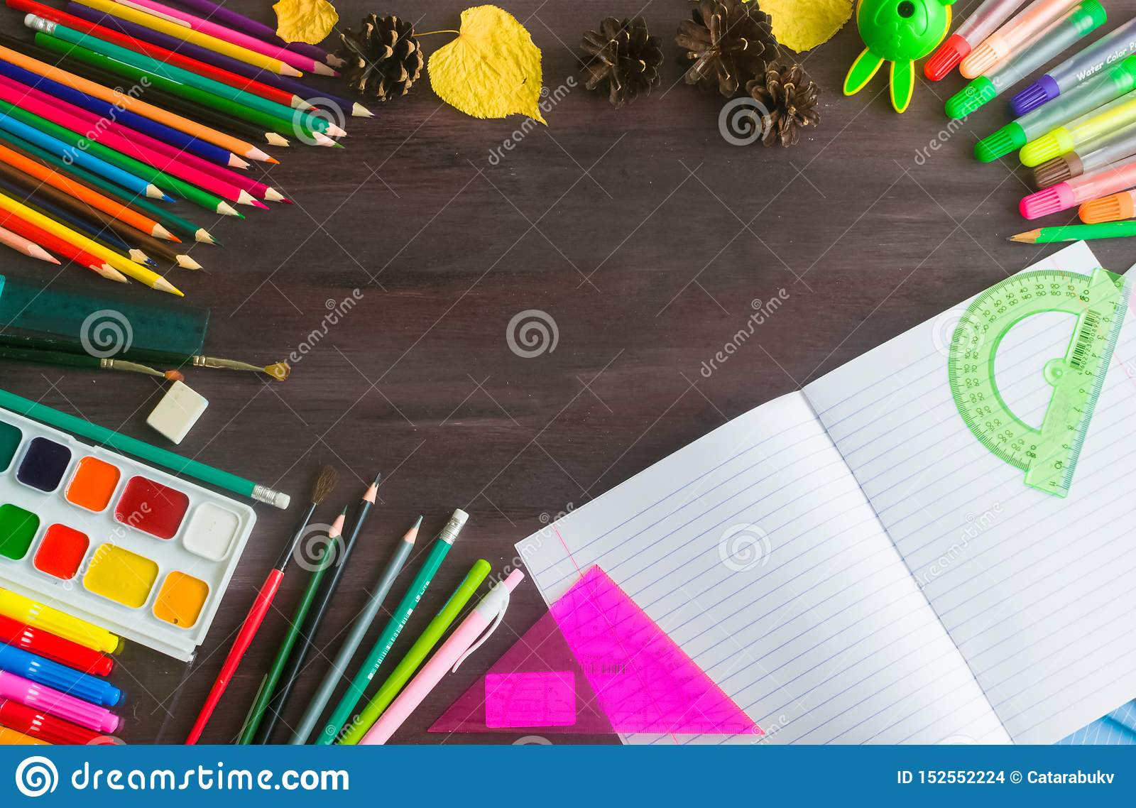 School supplies and accessories on blackboard background. concept Back to school