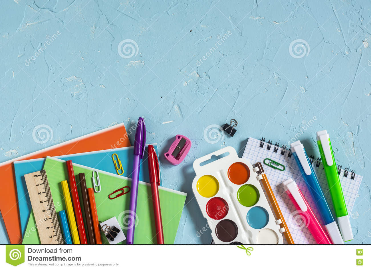 Top View Of School And Office Supplies Royalty Free Stock