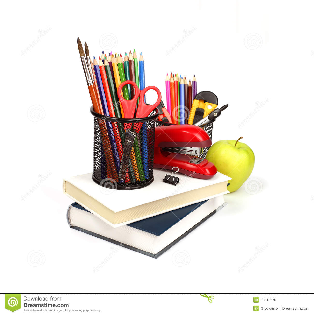 School supplies and accessories, books, pencils isolated on white ...