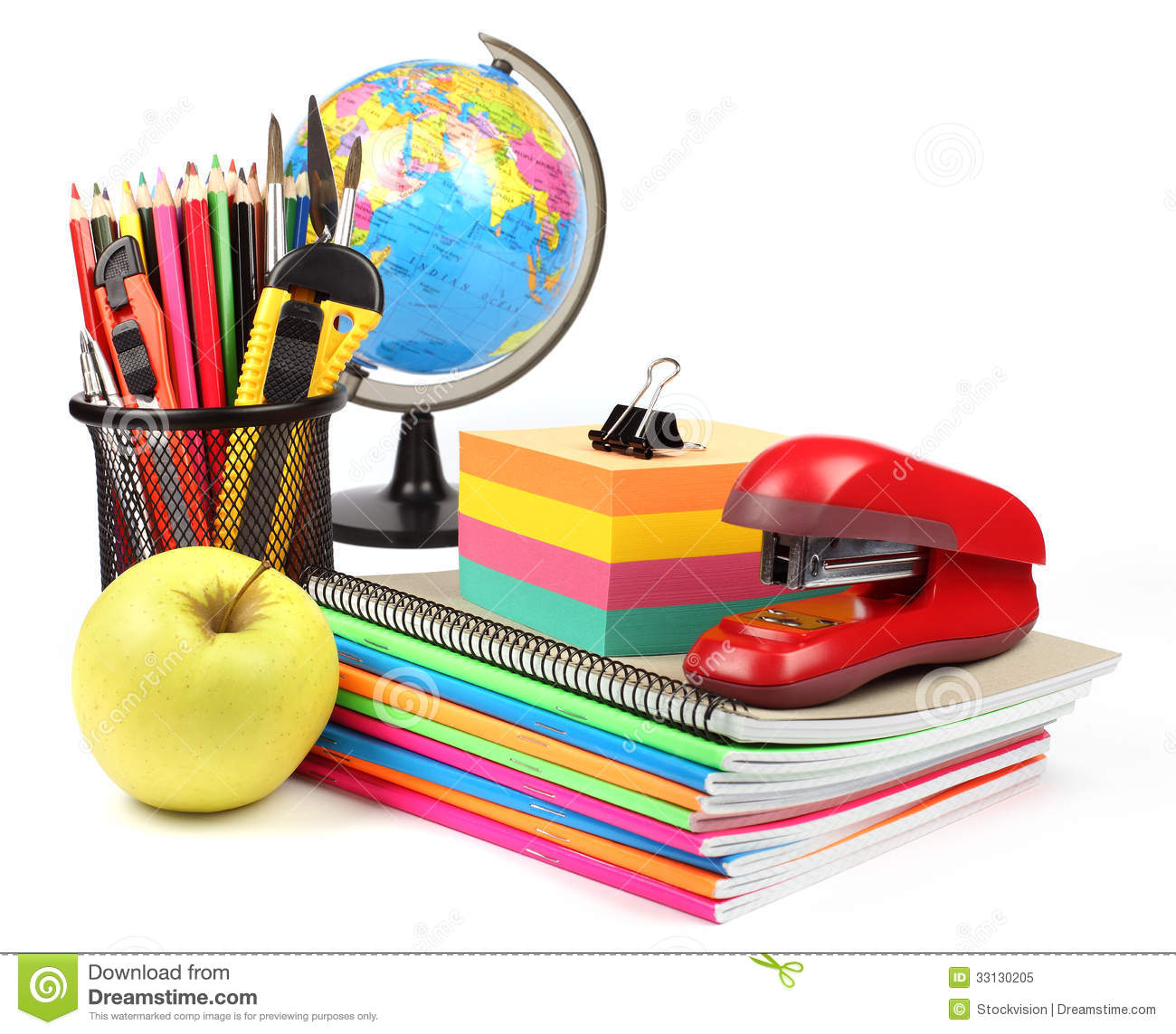 School Supplies And Accessories Isolated On White
