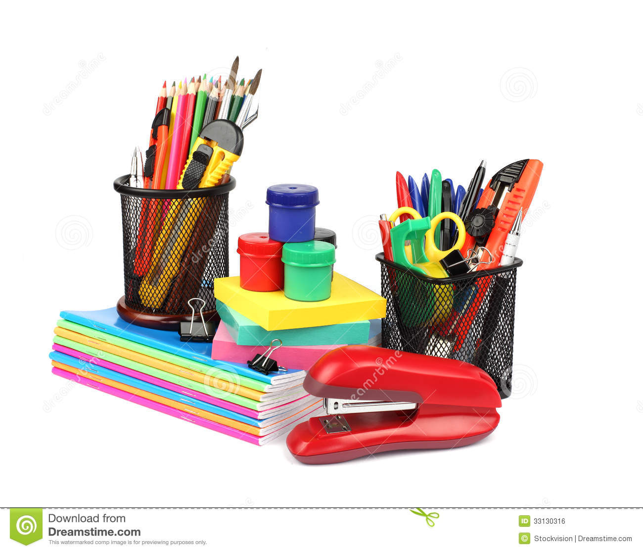 School supplies and accessories isolated on white for Homedepot colorsmartbybehr com paintstore