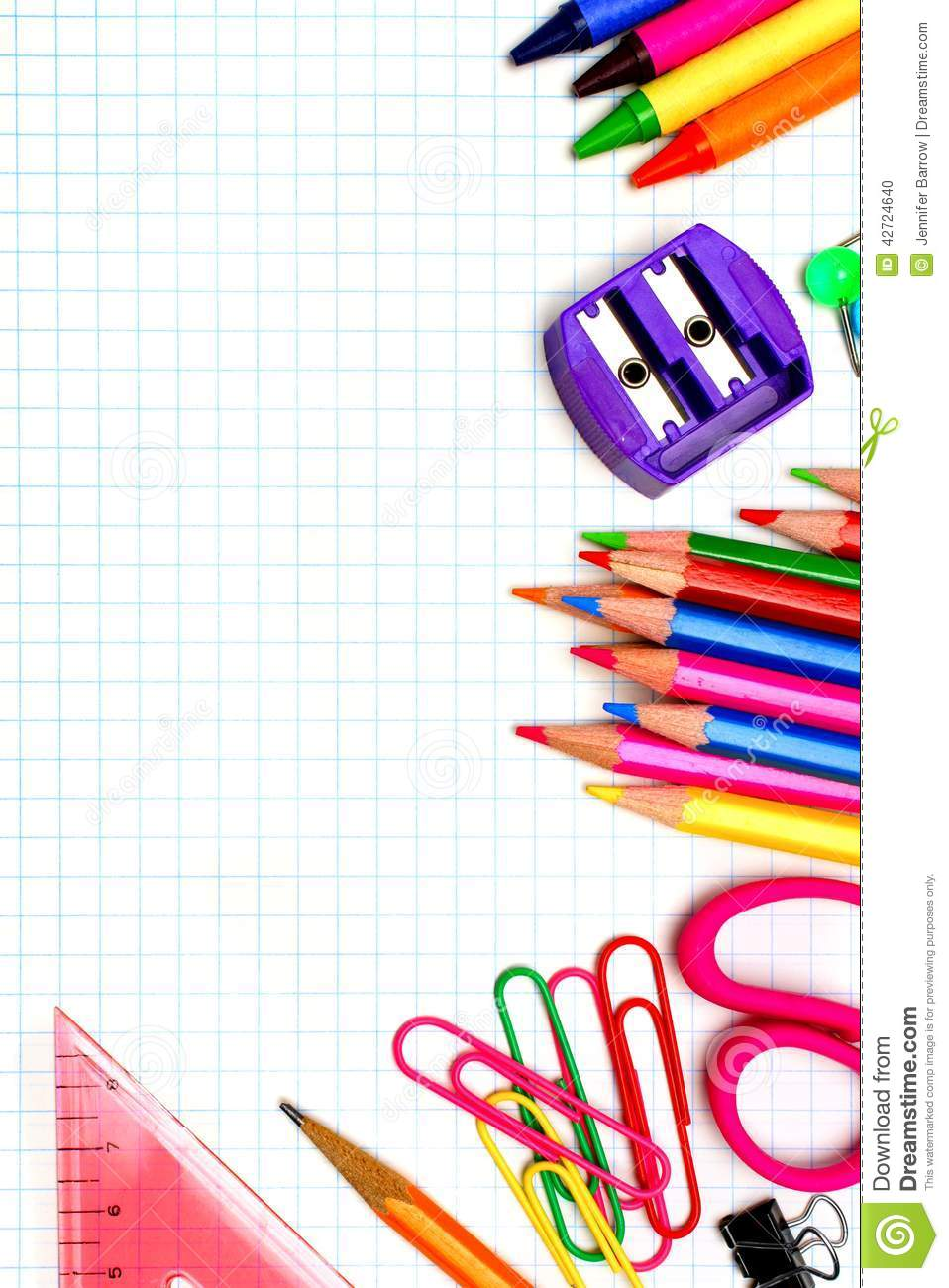 School supplies border stock photo. Image of mathematics