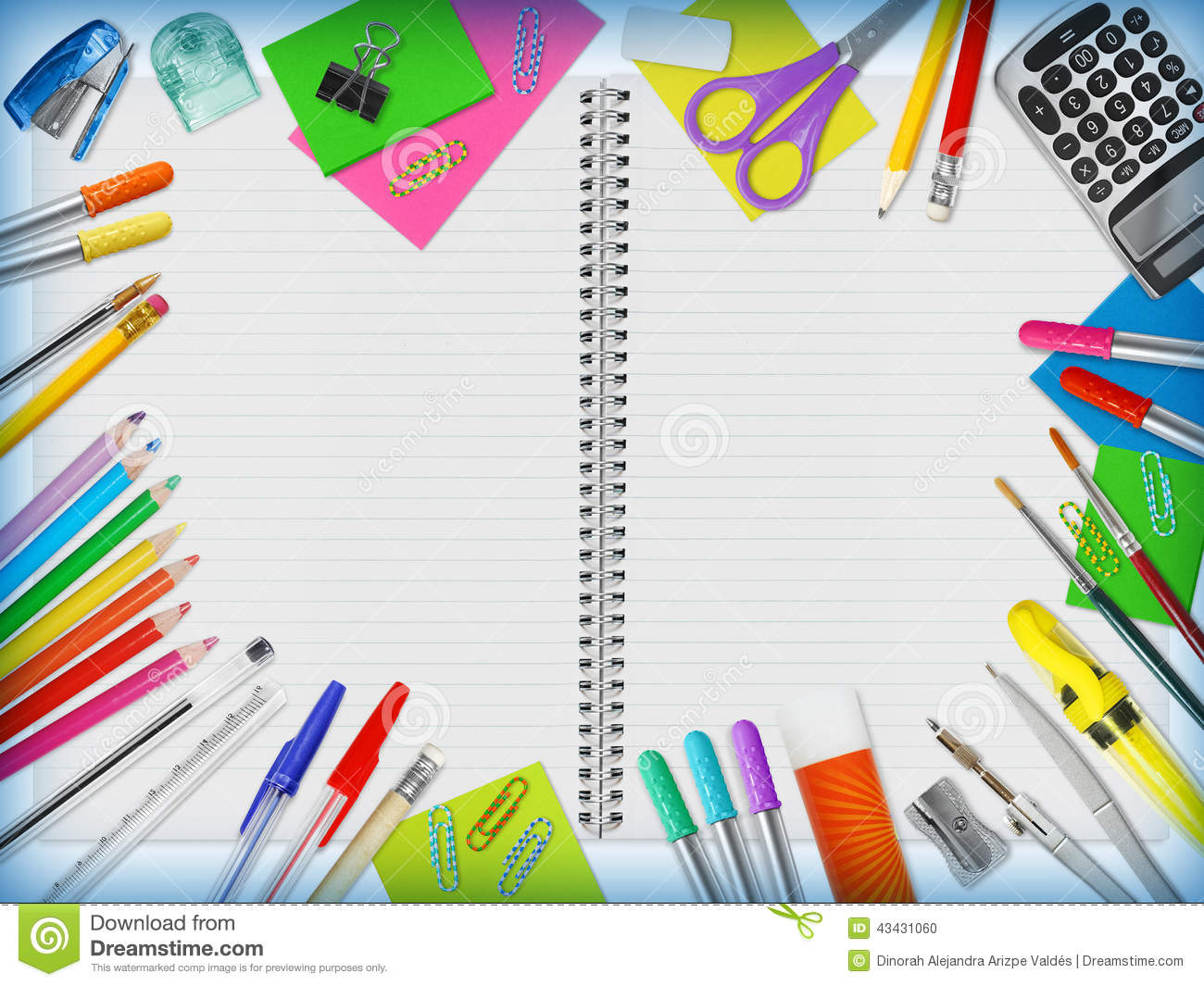 Education supplies border stock photo image 43431060