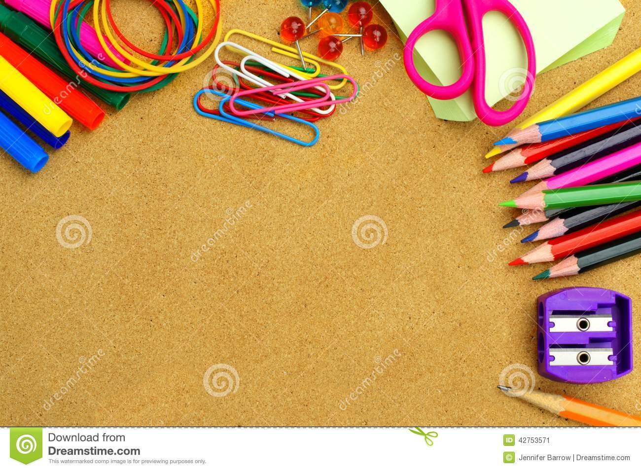 School Supplies And Bulletin Board Background Stock Photo