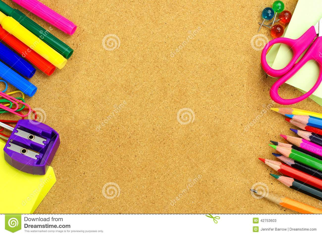 creative ideas to decorate picture frames - School Supplies And Bulletin Board Background Stock