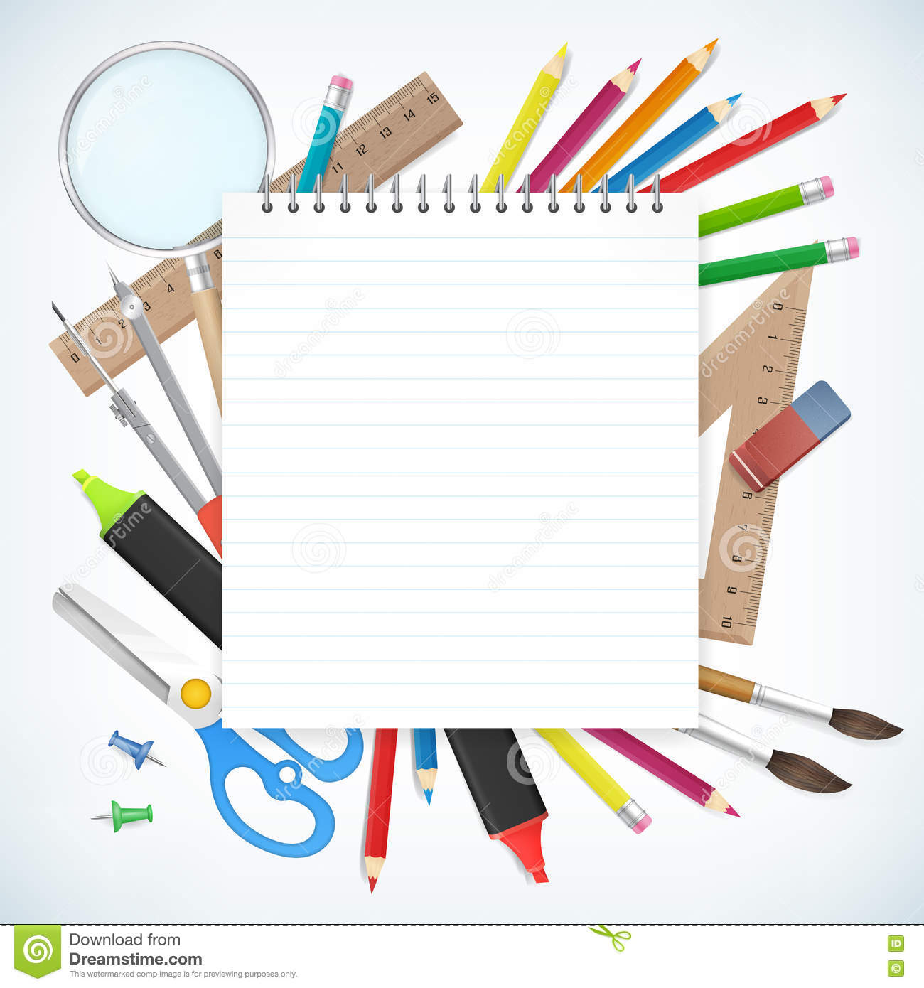 school supplies business background with empty notebook