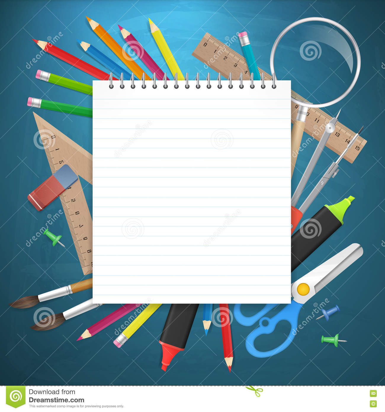 School Supplies Business Background With Empty Notebook Stock Vector Illustration Of Life Element 75526695