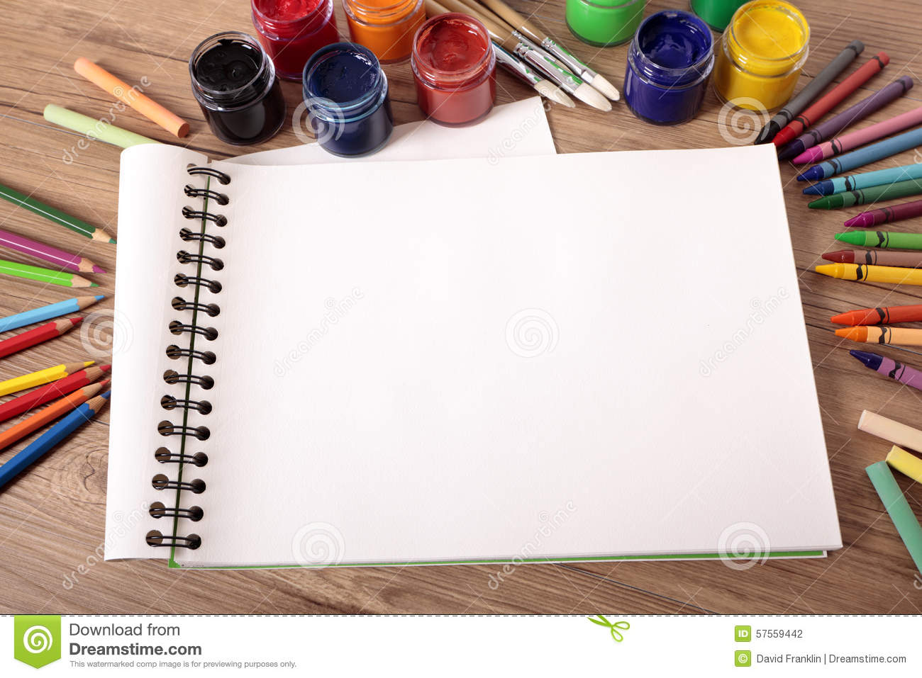 School Supplies On Desk With Blank Art Book, Copy Space Stock Photo ...