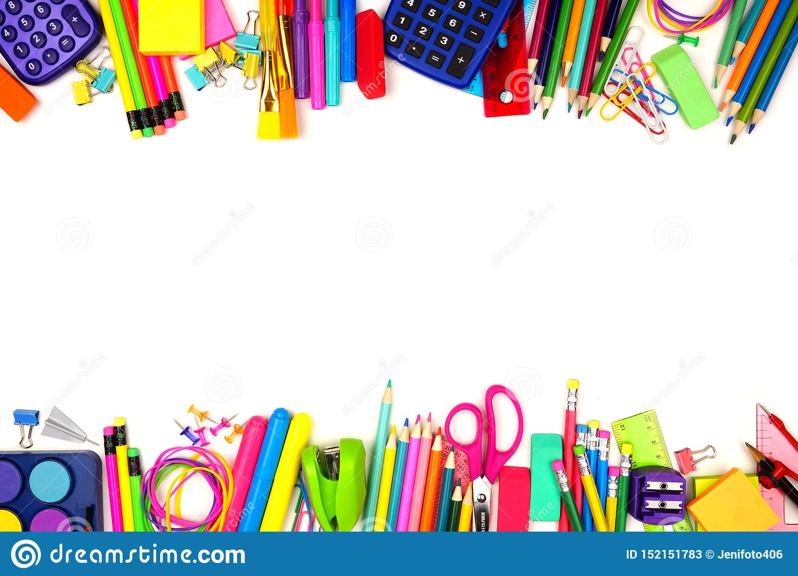School Supplies Double Border, Top View Isolated On A White Background With  Copy Space. Back To School. Stock Image - Image Of Flat, Isolated: 152151783