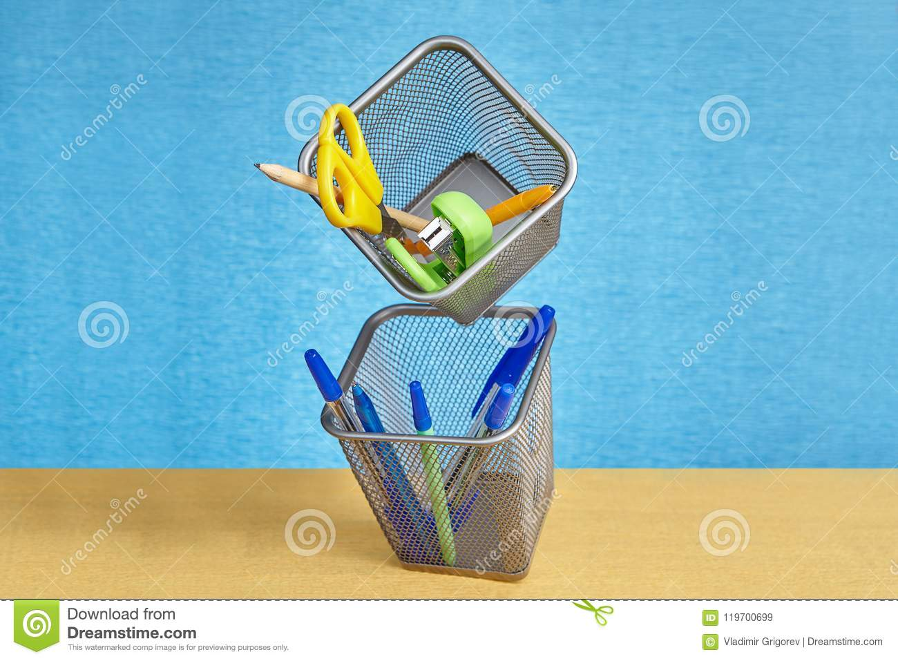 School Supplies Floating On Air In Conditions Of Zero Gravity. Stock ...
