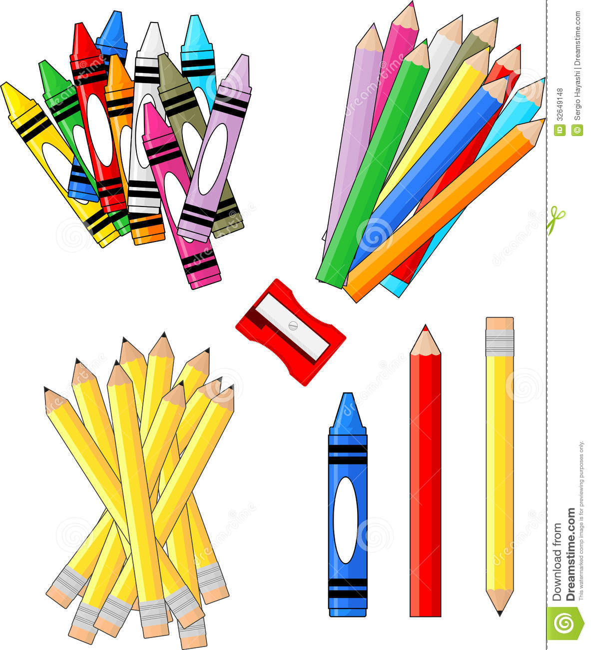 School supplies stock vector illustration of white pencils 32649148 school supplies voltagebd Images