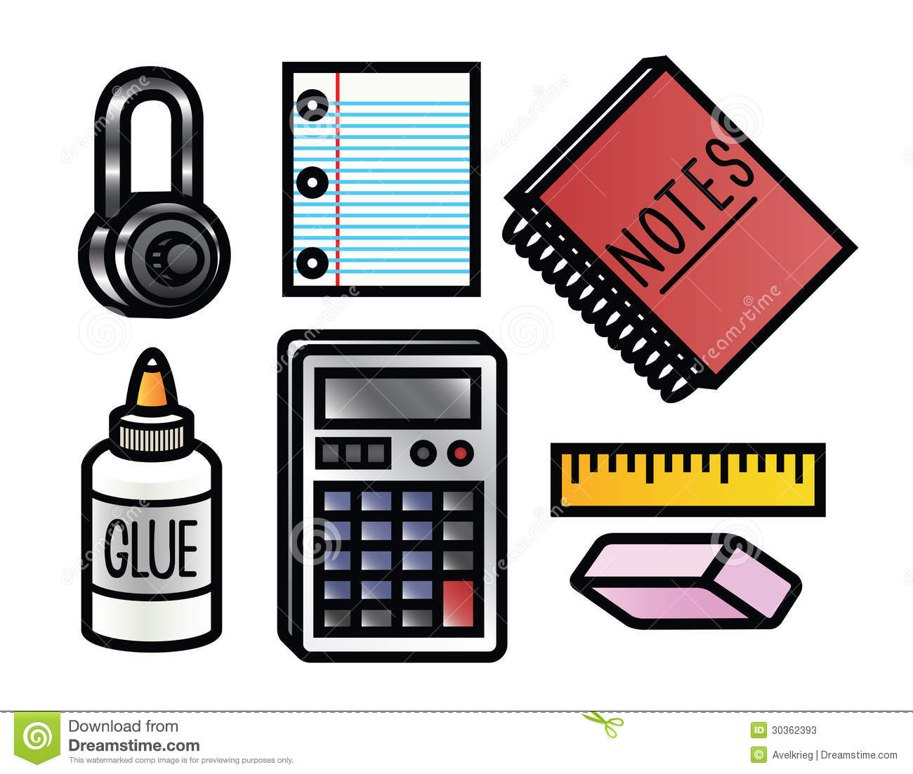 School Supplies Icons Stock Photos - Image: 30362393