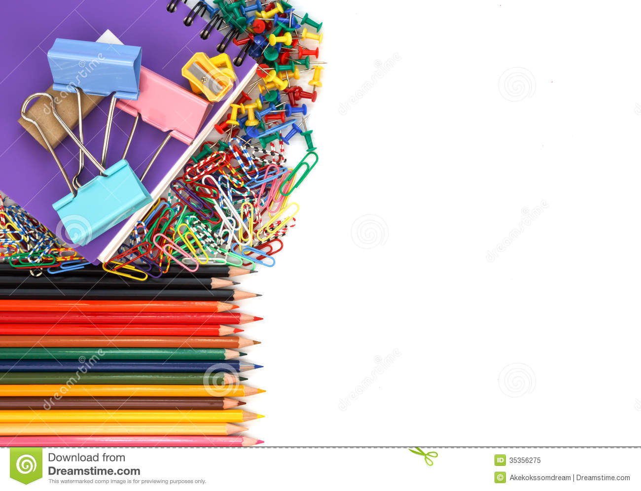 School Supplies Isolated On White Background Royalty Free ...