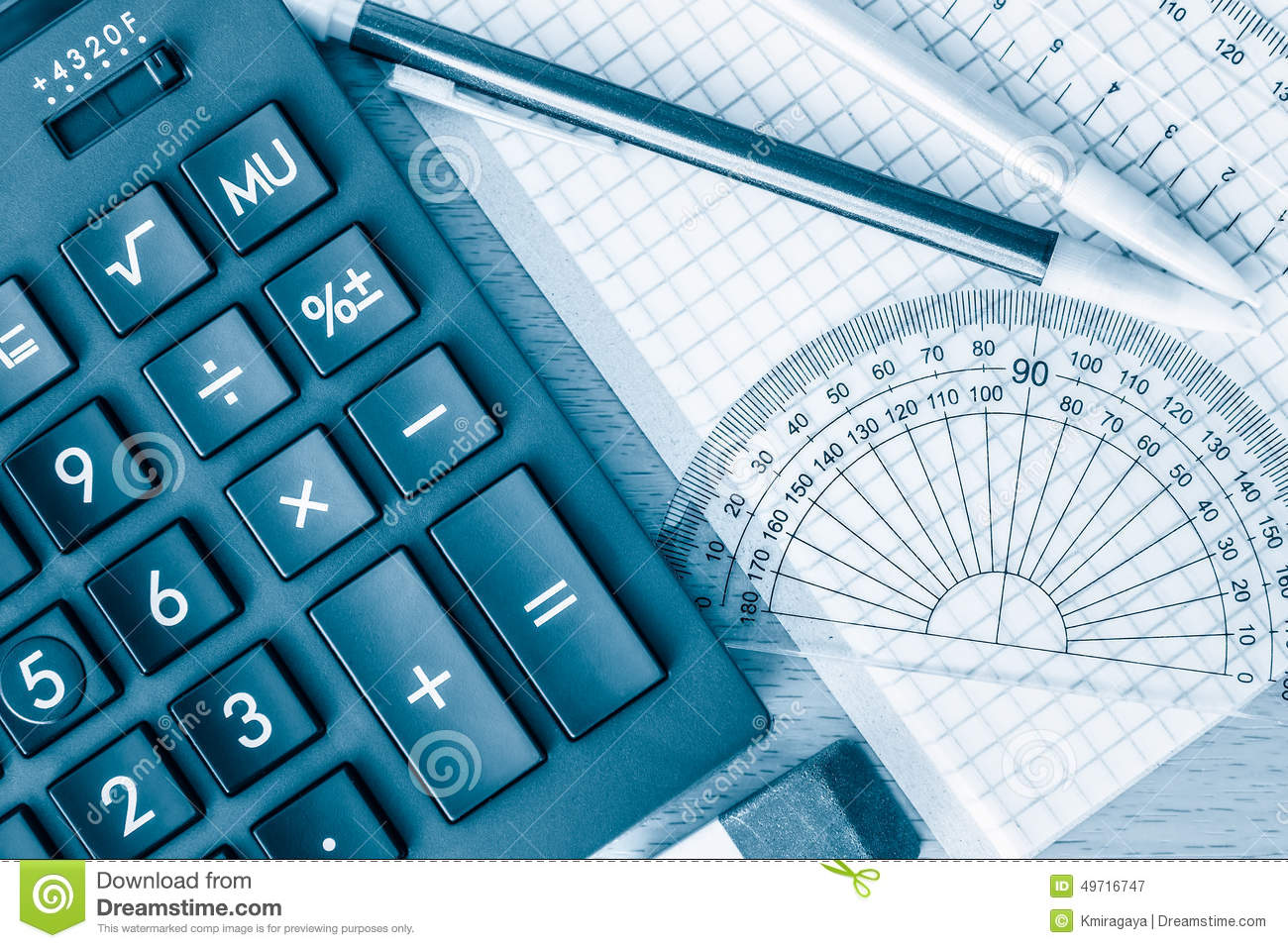 School Supplies Math And Science Toned In Blue Stock Image