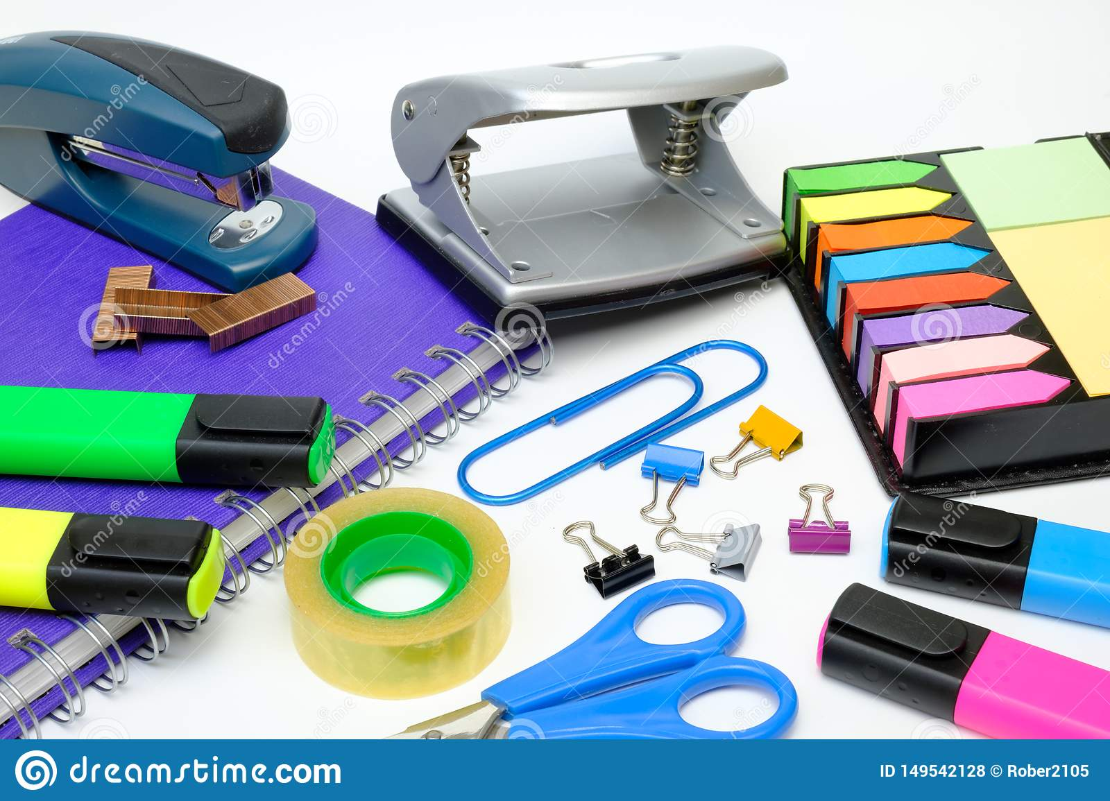 School supplies stock photo  Image of material, notepad