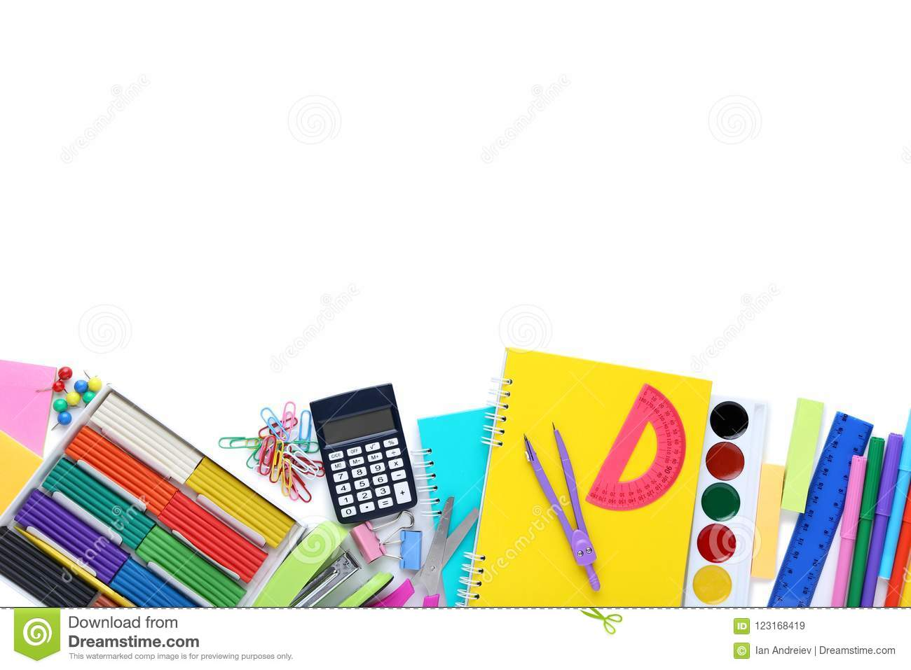 School supplies stock image  Image of color, notes, group - 123168419