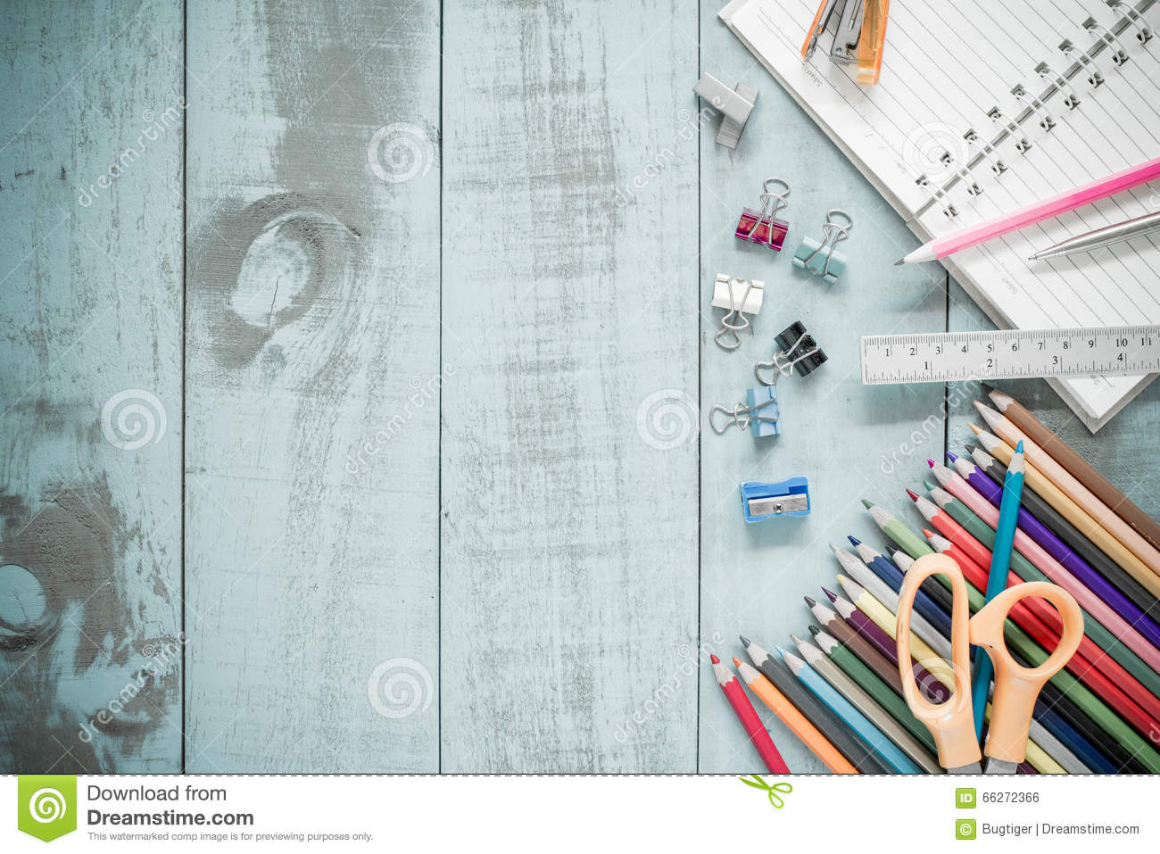 e4493d67da065 School Supplies On Vintage Old Blue Wood Texture Background. Stock ...
