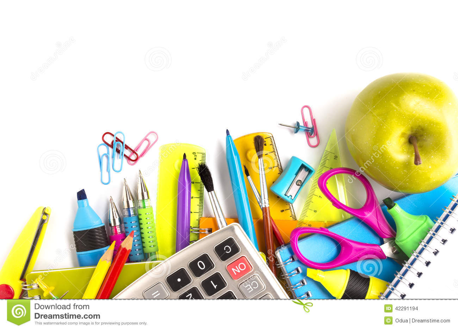 School Supplies On White Background Stock Photo Image